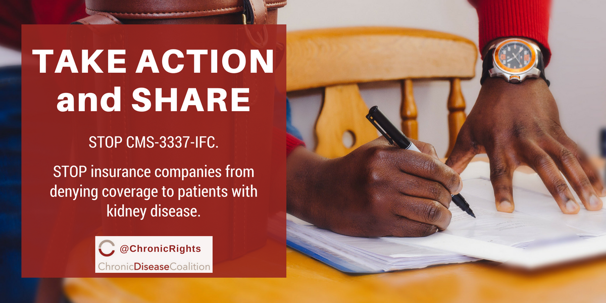 Chronic Disease Coalition calls on federal government to overturn rule enabling insurers to discriminate against kidney disease patients